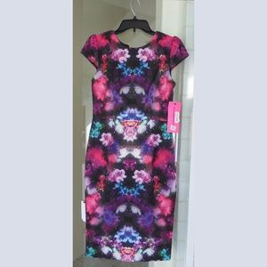 Betsy Johnson multicolor floral print dress NWT